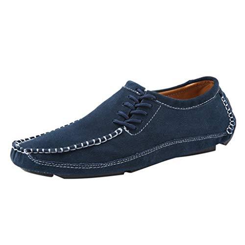 ZHANSANFM Herren Loafers Schuhe Slip On Breathable Halbschuhe Mode Low-Top Lace up Freizeit Leichte Outdoor Flacheschuhe Regular Fit Elegant Edle Mokassins Schuhe Müßiggänger Blau
