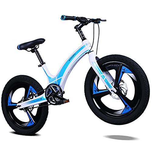 Child's Bike Magnesium Alloy One-Piece Kids Bike, Boys Girls Freestyle Bicycle 16, 18, 20 Inch Double Disc Brakes Front And Rear with 2.5' Wide Tire