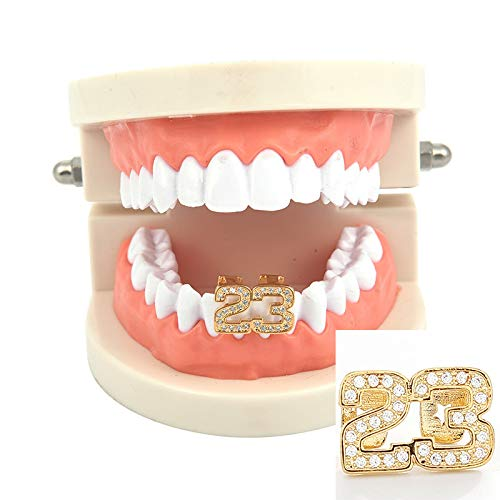 14k Gold überzogener Hip Hop Grill Einzel Zähne Grillz, Grill Cap Diamant Grillz für Zähne,Gold