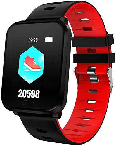 Bluetooth Smart Uhren Sport Smart-Armband Herzfrequenz-Blutdruck-Monitor IP68 wasserdichte intelligente Uhren for Männer & Frauen 1,3 Zoll Bildschirm Uhr für Männer Frauen Kinder ( Color : Red )