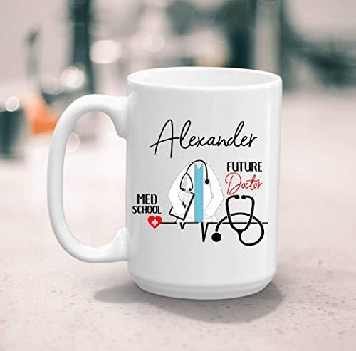 N\A Taza de café del Futuro Doctor del Estudiante de Medicina, Regalo de la Escuela médica, Regalo del Futuro Doctor, Nombre Personalizado 11 onzas