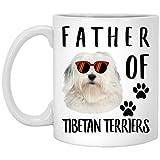 N\A Funny Father of A Tibetan Terrier White Sunset Retro Taza de café Blanca, 11 oz