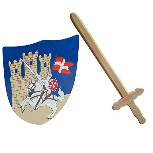 Idena 40032 - Kreuzritter Set für Kinder, Schwert und Schild, Holz