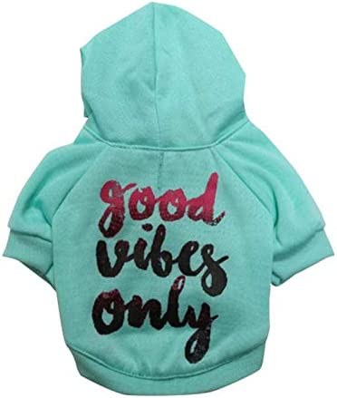 COUTUDI Dog Hoodie for Small Dogs Good Vibes Only Word Print Dog Hoodie Cat Hoodie Warm Winter product image