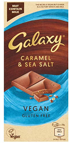 Galaxy Vegan Chocolate, Salted Caramel, Perfect for Vegan Gifts and Hampers, Great Vegan and Gluten Free Snack, 100 g - Pack of 10