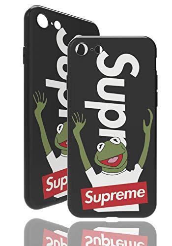 SUP Frog Hülle [ Passend für iPhone 7/8, in Schwarz ] Supreme x Kermit der Frosch Hülle - Fühlbares 3D-Motiv Cover