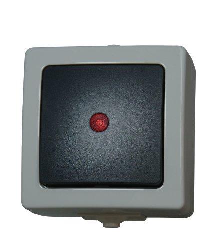 Kopp Kontrollschalter (Aus- und Wechselschalter) beleuchtet, incl. Kontrolllämpchen, Aufputz Feuchtraum, Nautic, grau, 566656002