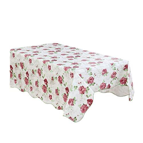 sourcing map Nappe Table Vinyle Carré Floral Imprimé MariageFête Nappe Décor Sans couture Tache Huile Résistant Blanc rouge 53\