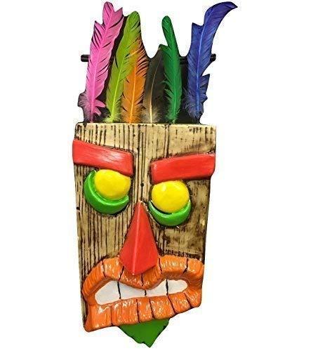 Toys And Masks Crash Bandicoot Estilo Aku Aku - Plástico Duro Posible de Usar en Máscara con Desmontable Plumas - Talla Universal con Correa Elástica