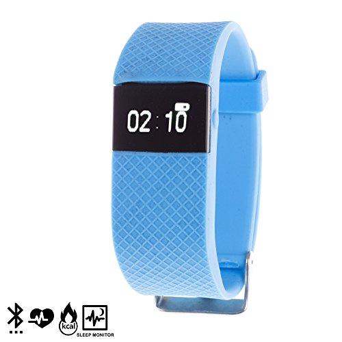 DAM DMR091 Bluetooth Smart-Armband TW64S mit Herzfrequenz-Monitor, blau