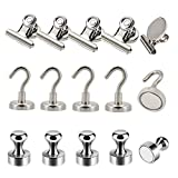 Refrigerator Magnets Kits - Aovon Magnetic Push Pins/ Magnetic Clips/ Magnetic Hooks with Rust-Resistant Nickel Coating for School, Home, Office and Travel Use