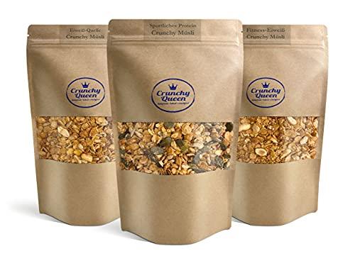Crunchy Queen Eiweiß-Müsli Paket mit bis zu 34% Protein ohne raffinierten Zucker und vegan (1020g)