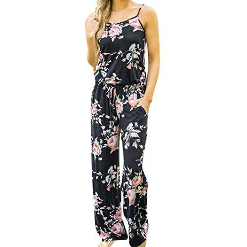 VEMOW Boho Jumpsuit Elegante Damen Frauen Floral Sleeveless Urlaub Lange Playsuits Casual Täglichen Party Strand Lose Romper Overall(Schwarz, 46 DE/XXL CN)