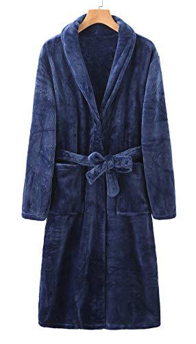 Albornoz largo de franela para hombre y mujer, de invierno, grueso y cálido, para dormir, camisón con bolsillo, Marino, L