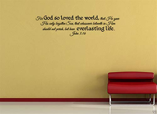 Pegatinas De Pared Baratas John 3:16 Bible Verse Far Gad So Loved The World That He Gave His Only Begotten Son For Bedroom Living Room