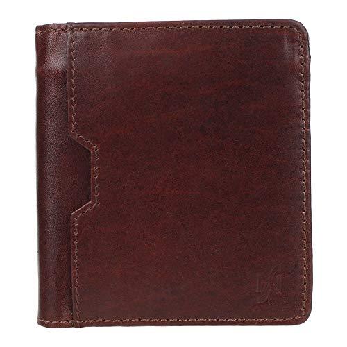 Starhide - Portafoglio da uomo in pelle liscia con blocco RFID, a tre volte, in stile vintage, colore: Marrone