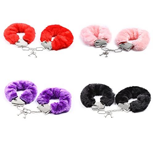 RUIYELE 4 piezas de peluche suave esposas con llaves de juguete esposas pulsera de disfraces accesorios ajustables Manacle Prop accesorios para Halloween Cosplay fiesta juguete