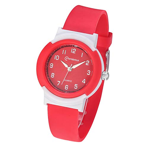 Relojes Analógicos para Niños, Niñas Impermeable Fácil de Leer Relojes de Pulsera con Correa Suave para Niñas (Rojo)