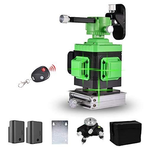 Laser Level 25M, Careslong 3 x 360 Green Laser Level Self Balancing, Green Beam 3D 12 Lines, IP 54 Self Leveling Vertical and Horizontal Line (Including 2pcs Battery)