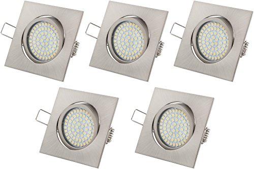 Ultra Flach LED Einbaustrahler Tolles Design Warmweiß 3.5W 230V Edelstahl Optik Eckig Schwenkbar Einbauspots, 5 Stück Einbauleuchten (Warmweiss)
