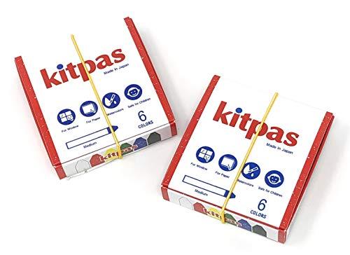 Kitpas Art Crayons Medium 6 Colors 2-pack set, For Kids ages 3+, Window Art, Erasable, Water-Soluble