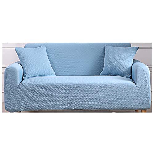 Sticker superb Funda Sofá de 2 Plazas Verde Marrón Gris Púrpura Beige, Cubierta de Sofá Cubre Sofá Funda Jacquard Tramo Antideslizante Elastic Soft Sofa Couch Cover (Azul)