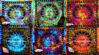 Indien Tapisserie Sun Moon Star, Suspendre Hippie Hippie mur, tapisserie Tie Dye, psychédélique Céleste Tapisserie Murale décorative ethnique chiffon, Star tapisseries Drap de Plage, pique-nique, table, à suspendre, tapisseries, Good Morning 218,4 x 238,8 cm, 50 Lot, gros par bhagyoday