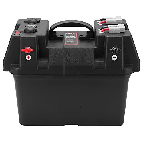 Qiilu Trolling Motor Smart Battery Box Power Center con puertos USB y DC, para cargar RV Yacht Marine Boat Accesorio 12V
