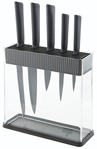 Kuhn Rikon 26592 Colori+ Set de 5 Couteaux + Porte-Couteaux Graphite 34,5 x 26,5 x 10 cm