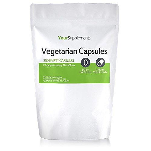 """Your Supplements - Cápsulas vegetales, Vacías, Tamaño""""0"""", 250 piezas"""