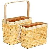 Wicker Basket with Folding Handle,Flower Baskets for Weddings ,Handmade Woodchip Wall Storage Basket Indoor Outdoor Plants,Easter Candy& Eggs Basket,Fruit &Vegetable Basket,Kids Toy Basket,Set of 2