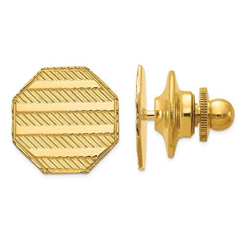 14k Yellow Gold Mens Textured Design Octagonal Tie Tac Lapel Pin Bar Fine...