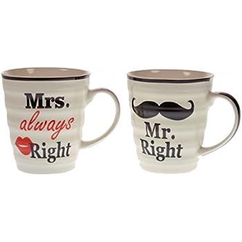 El Conjunto de 2 Mr Derecho Mrs Always Taza en Caja Regalo el Regalo Perfecto para Boda: Amazon.es: Hogar
