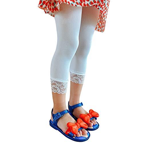 L&K Libella Mädchen 3/4 Sommer Leggings mit Spitzen Capri-Leggings 27250 Weiß