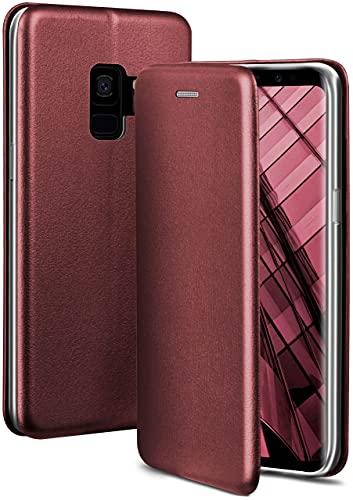 ONEFLOW Handyhülle kompatibel mit Samsung Galaxy S9 - Hülle klappbar, Handytasche mit Kartenfach, Flip Hülle Call Funktion, Leder Optik Klapphülle mit Silikon Bumper, Weinrot