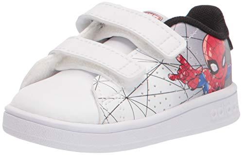 adidas Kids Advantage Sneaker, White/White/Black, 6 US Unisex Toddler
