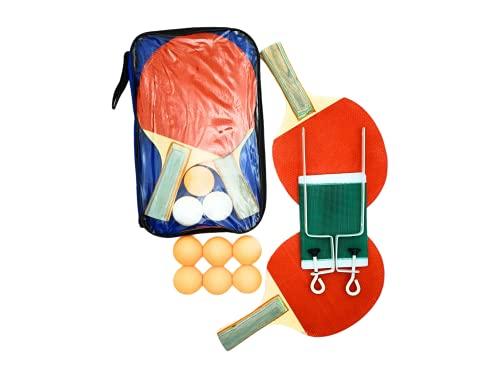 Set» Juego de Palas de Ping Pong + 9 Pelotas + Maya Adaptable a Cualquier Mesa + Funda de Protección » Raquetas para Tenis de Mesa para Interior y Exterior - Mango Cómodo (Pack Ping Pong Pelotas Red) 🔥