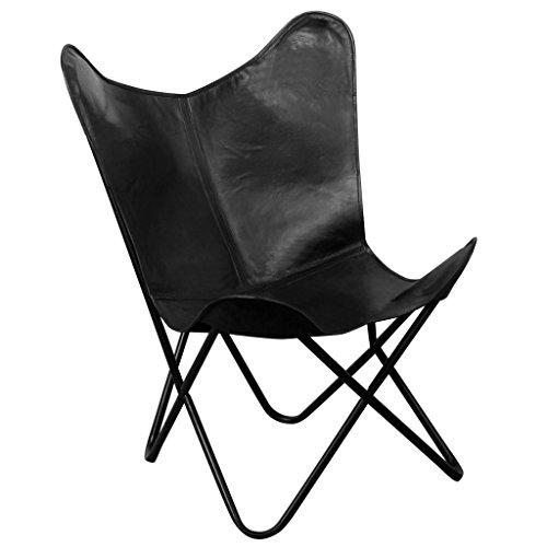 Festnight Butterfly Sessel Echtlederbezug Loungesessel Klappstuhl Ergonomisch Relaxsessel 74 x 66 x 90 cm Schwarz