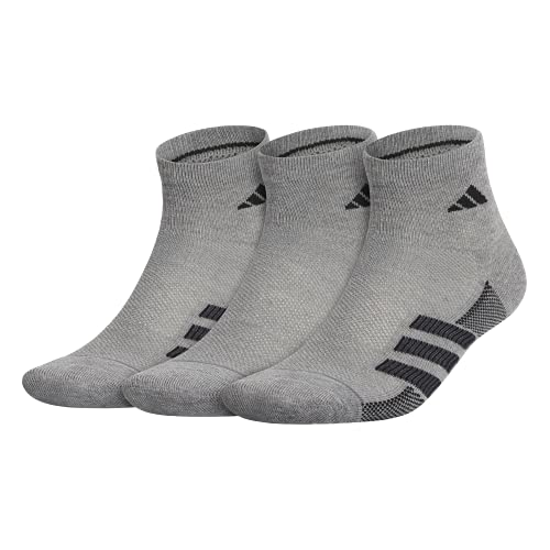 adidas Men's Superlite Stripe Quarter Socks (3-Pair), Core Heather/Black/Night Grey/Onix, Large, (Shoe Size 6-12)