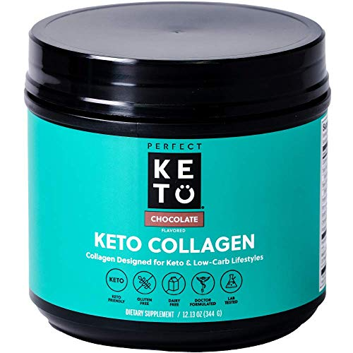 Perfect Keto Collagen Peptides Protein Powder with MCT Oil | Hydrolyzed Collagen, Type I & III Supplement | Non-GMO, Gluten Free, Grassfed, Keto Creamer in Coffee | Shakes for Women & Men – Chocolate by Perfect Keto