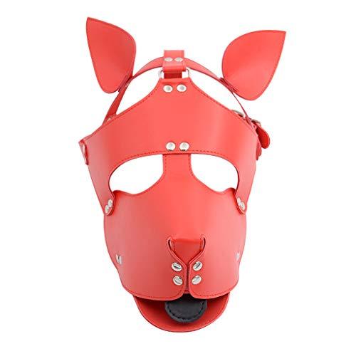 ZYAM 100% Latex MḁṤkèn Naturkautschuk Fetisch Bondage Kopfbedeckung, Halloween Dog Style MḁṤkè Aǖgénbïndé-red