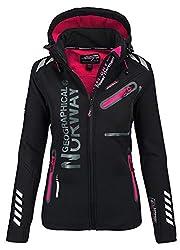 Geographical Norway Damen Softshell Funktions Outdoor Regen Jacke Sport (S, Schwarz)