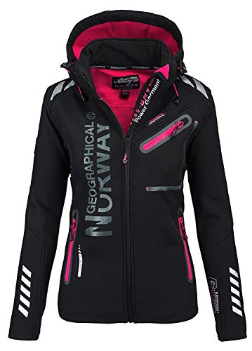 Geographical Norway Damen Softshell Funktions Outdoor Regen Jacke Sport (L, Schwarz)