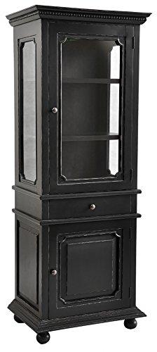 Casual Elements Santa Fe Glass Display Cabinet, Light Distressed Black