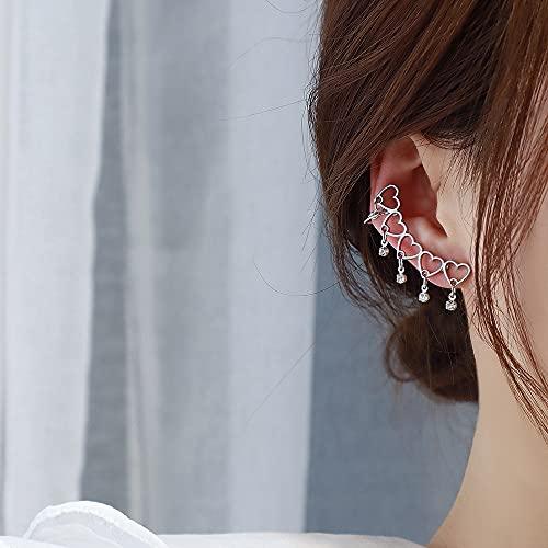 Taloit Pendientes con forma de corazón para oreja, pendientes de escalador, pendientes de oreja, clip de hueso para orejas y orejas para niños