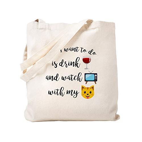 CafePress Emoji-Tragetasche für Getränke, Wein, Katze, canvas, khaki, S