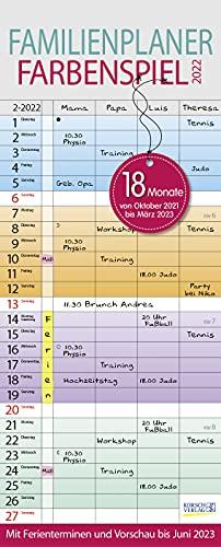 Familienplaner Farbenspiel 18 Monate 2021/2022: Familienkalender mit 4 Spalten, Wandkalender von Oktober 2021 bis März 2023. Ferientermine und Vorschau bis Juni 2023.