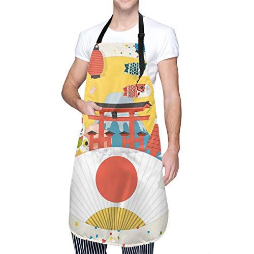 COFEIYISI Delantal de Cocina Patrón comercial de inspiración japonesa Varios artículos de la cultura asiática Cool Cat Origami Delantal Chefs Cocina para Cocinar/Hornear