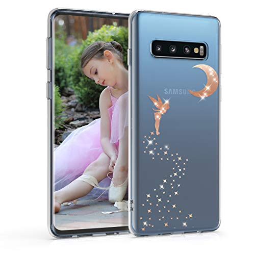 kwmobile Hülle kompatibel mit Samsung Galaxy S10 - Handyhülle - Handy Case Fee Glitzer Rosegold Transparent