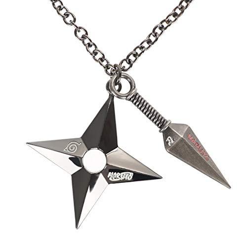 CoolChange Naruto Halskette mit Kunai & Shuriken, Metall, Schwarz